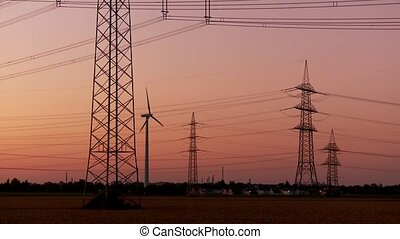 Power Poles in Sunset - Electricity and Sunset