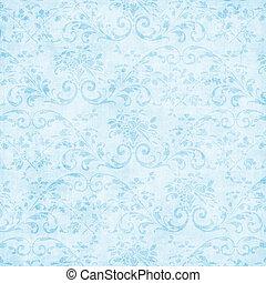 Vintage Light Blue Floral Tapestry - Worn light blue floral...