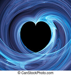 blue heart hole in twirl rays background