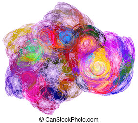 colorful ray cloud - abstract colorful chaos clouds on white...