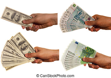 Dollar, euro and rouble bills in a hand