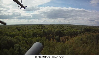 Military helicopter in sky - View from window of military...