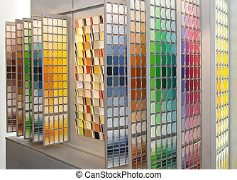Color swatches - Wall with big palette of colour swatch...