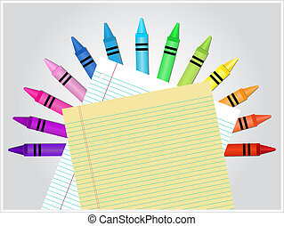Crayons and Paper - Set of crayons displayed in a semicircle...