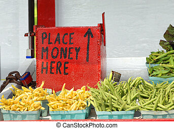 Money Box at Amish Stand - Amish roadside vegetable stand...