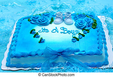 "Announcing ""It's a Boy"" - Bright blue sheet cake is..."