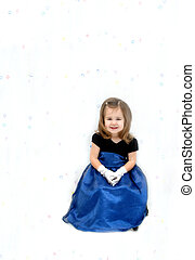 All Dressed Up - Little girl is wearing a royal blue gauze...