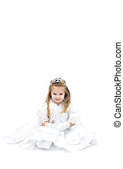 Aspiring to be a bride - Wishful little girl is dressed up...