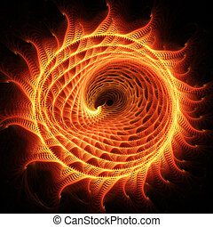fire dragon wheel - abstract chaos fire dragon rays on dark...
