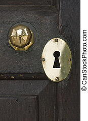 Entrance to Witley Court Church - Brass knob and keyhole of...