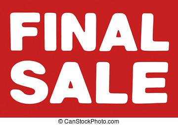 Final Sale sign in red and white colors
