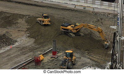 construction tractors - At this job site in downtown...