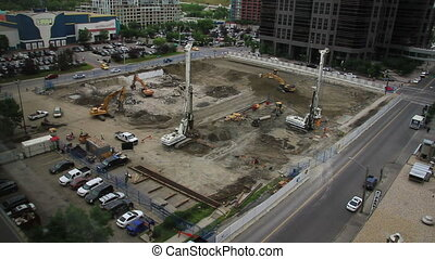 Downtown construction wide - Wide shot of construction...