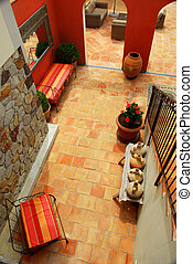 Courtyard of a villa - Courtyard of mediterranean villa in...
