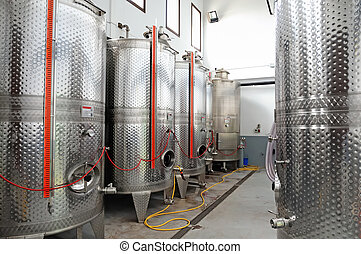 Steel tanks in winery