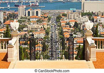 View of Haifa from Bahai Gardens , Israel