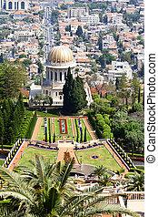 Bahai Gardens - View of Haifa, Bahai Gardens and Shrine of...