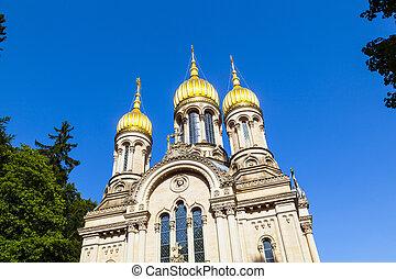 Russian orthodox chapel Wiesbaden, Germany - Russian...