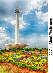 National Monument Monas. Merdeka Square, Central Jakarta,...