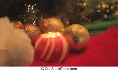red striped ball candle