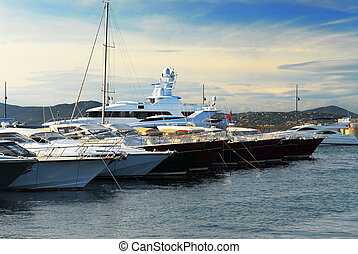 Boats at StTropez - Luxury boats at the dock in St Tropez in...