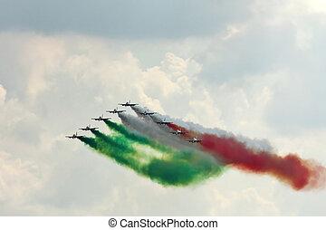 Frecce Tricolori (Italian, literally Tricolour Arrows), is the aerobatic demonstration team of the Italian Aeronautica Militare