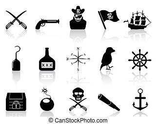 black pirate icons set - isolated black pirate icons set...
