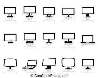 computer monitor icons set - isolated computer monitor icons...