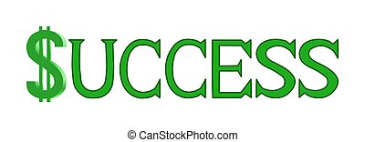 Success Word in Green - Illustration of the word 'Success'...