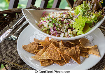 Ceviche Dish - Plate of Ceviche, a popular dish in Central...