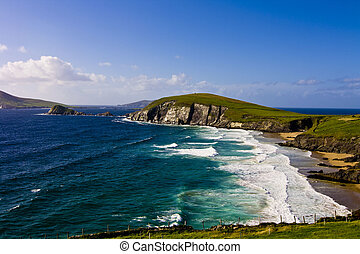 Green irish landscape ding - Landscape of dingles peninsula,...