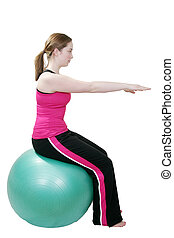 pilates stretch - young girl stretching doing pilates...