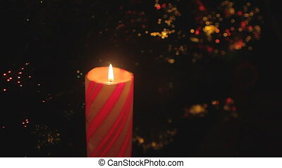 christmas candle shimmering lights - Christmas pillar candle...