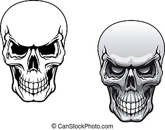 Human skulls in color and monochrome versions for tattoo...
