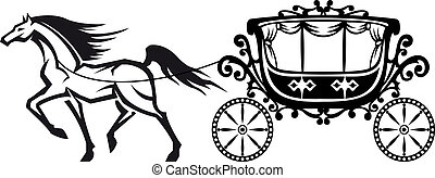 Horse with vintage carriage for retro design