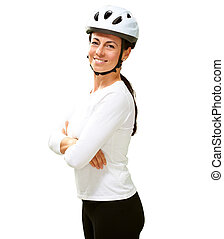 Woman Wearing Helmet With Hands Folded On White Background