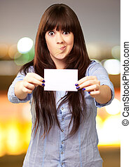 Funny Girl Showing Blank Paper