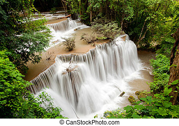 Tropical Rain forest waterfall in National Park in Thailand