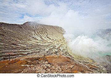 Sulfur Mine Khawa Ijen Indonesia - Sulfur Mine at Khawa Ijen...