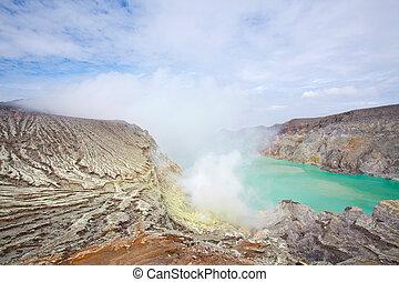 Sulfur Mine Indonesia Ijen - Lake and Sulfur Mine at Khawa...