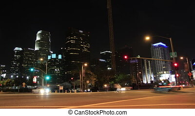 Night Downtown Intersection - This is a time lapse shot of...