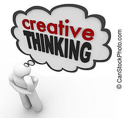 創造的, 考え, 人, 考え, 泡, ひらめき, 考え