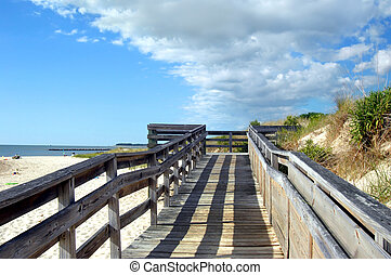 Afternoon Shadows at Cape Charles Beach - Wooden dock, with...