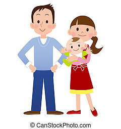 Cartoon of young family with baby