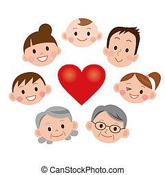 cartoon family face icons and Heart