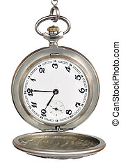 Old pocket watch - Old pocket mechanical watch on a white...