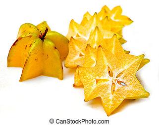 Closeup starfruit isolated on white background