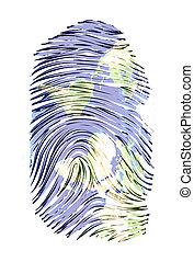 World Map finger print