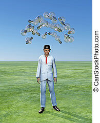 Man with ideas above him