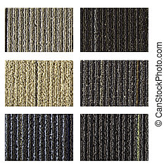 Samples of collection carpet on a white